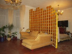 Decorative partition wall in the living room