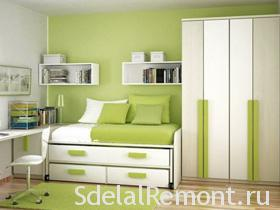 Green color in the interior rooms