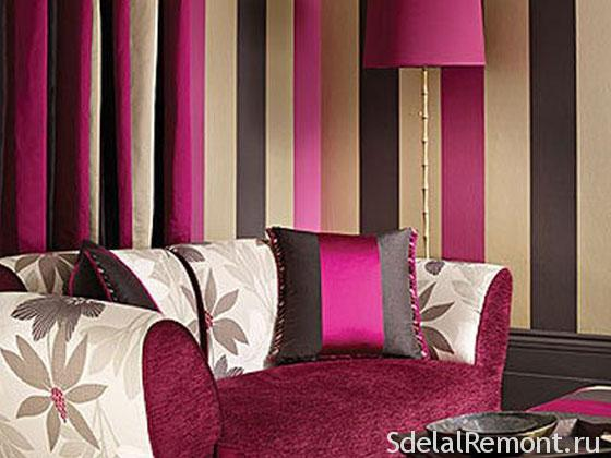 Striped interior photos .Wallpaper with stripes in the interior