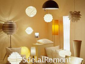 The lighting in the interior , selection of lamps for room photo
