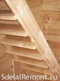 Attic stairs with his hands photo