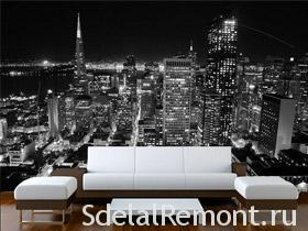 Photo Wall Mural background with black and white photo of a night city