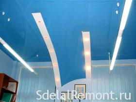 Installation of suspended ceilings under any angle photo blue / blue stretch ceiling