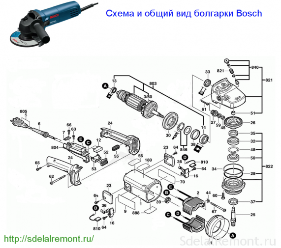 Driving assembly grinder Bosch power over 1000 W