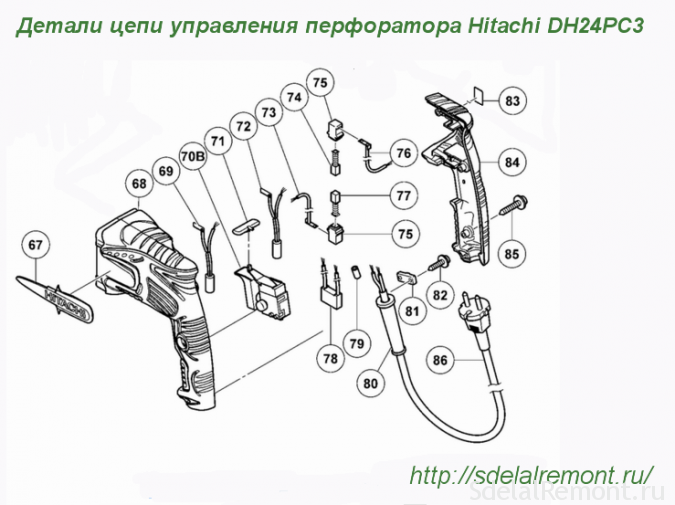 Control circuit diagram perforator Hitachi DH24PC3