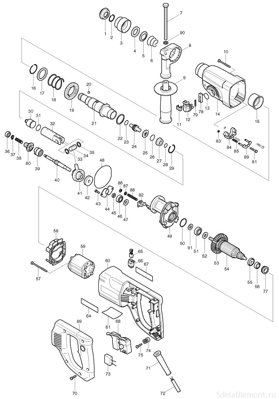 complete disassembly diagram punch Makita