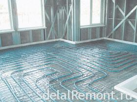 Radiant floor with his hands photo