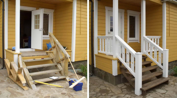 Как сделать лестницу к дачному домику 804