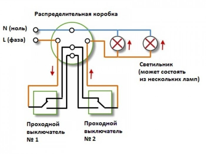 Схема подключения освещения в распределительной коробке