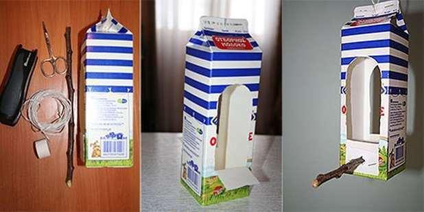 Видео как сделать кормушку из коробки