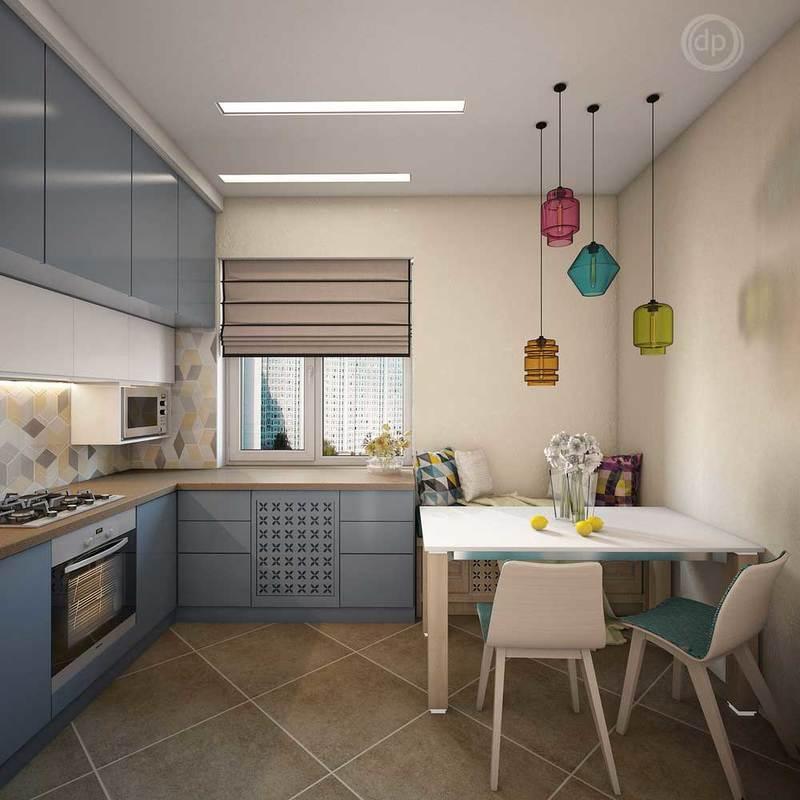 Дизайн 14 квадратной кухни квадратной