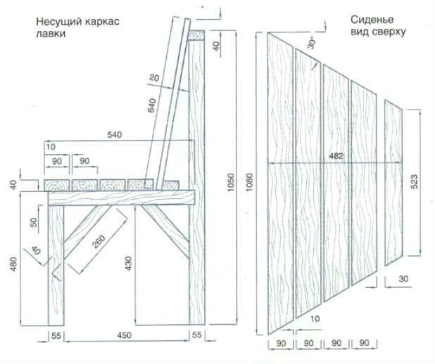 Лавка скамейка своими руками чертежи 73