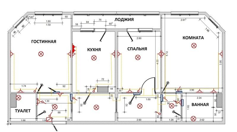 Схема разводки электропроводки в квартире хрущевке фото