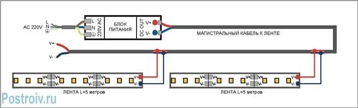 Схема подключения диодов блоку питания