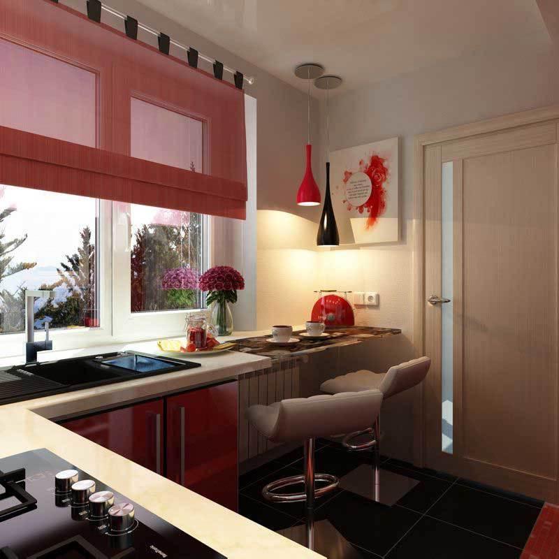 Интерьер кухни фото вдоль окна