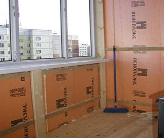 Утепление и обшивка стен на балконе и лоджии изнутри пенопле.