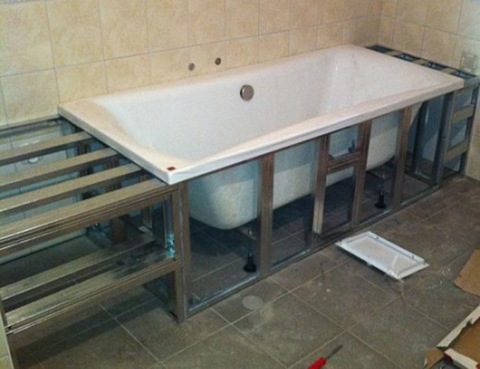 Металлический каркас для ванной комнаты своими руками 64