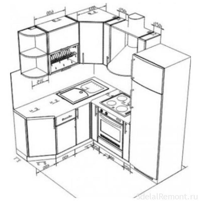 Размер кухни своими руками