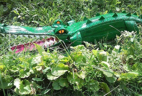 Крокодил из шины как сделать своими руками 8