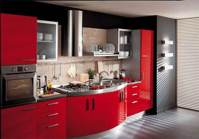 black and red kitchen interior